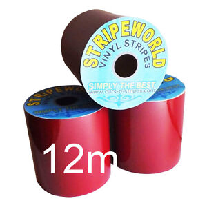 Self Adhesive Red Vinyl Stripes Many Widths for Car Caravan Boat 12mtrs