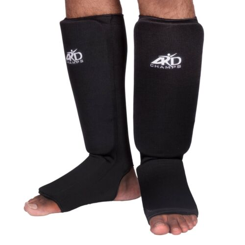 Guards Pads Boxing ARD CHAMPS™ Shin Instep Protectors MMA Muay Thai Black