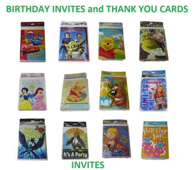 Hallmark Birthday Invites And Thank You Cards Sealed Packs Of 8 New Vtg Retro