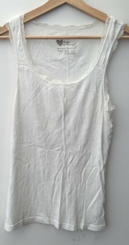 Ladies White Night Vest Top Size 12-14 Love To Lounge