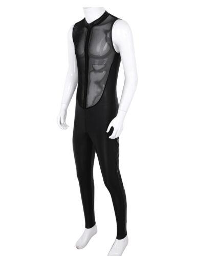 Mens Wetlook Leather Sleeveless Sheer Mesh Zipper Jumpsuit Bodysuit Leotard Club