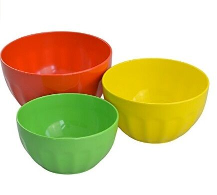 Yellow Green 2Qt, 3Qt, 4Qt Surpahs Set of Melamine Mixing Bowl Red 3 piece,