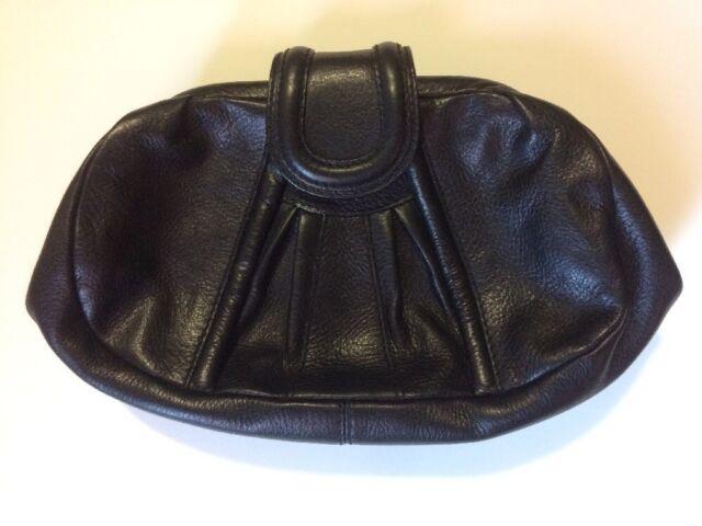 LOEFFLER RANDALL Pleated Front Black Pebbled Leather Clutch Handbag Gold NEW