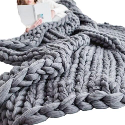 EG/_großen handgemacht grob gestrickt Decke dickes Linie Garn Überwurf Wohndeko