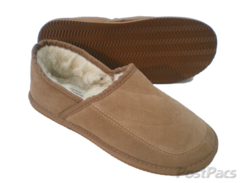Unisex Hard Sole sizes 8-12 Mens CLASSIC GENUINE Sheepskin SUEDE SLIPPERS