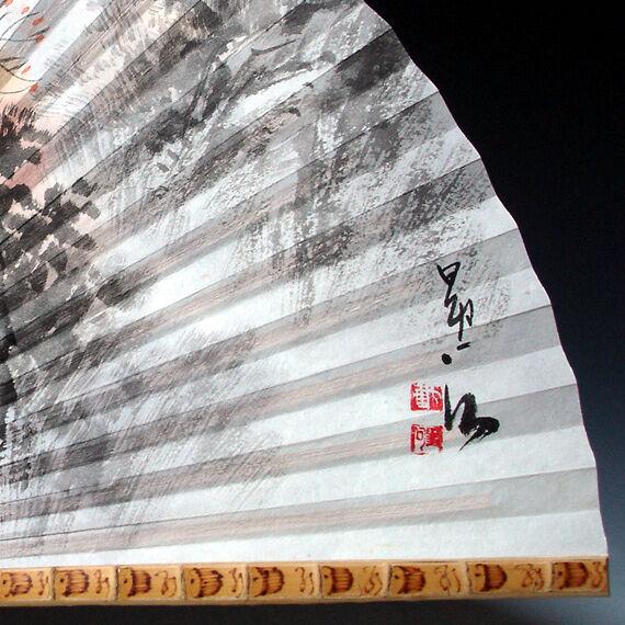 Eventail de Haut de Eventail Gamme Rare Bambou Robuste Paysage Coréen Etang Lotus Bouddha 67377d