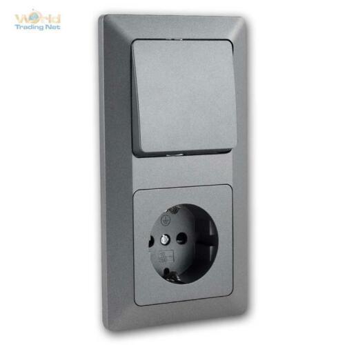 Interrupteur /& Prise de courant combinaison avec cadre 230 V UP série Milos Blanc//Anthracite