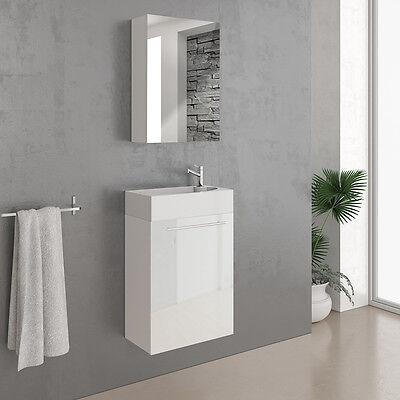 VICCO Badmöbel Set 45 cm Weiß Hochglanz - Gäste WC Bad Waschtisch Spiegel