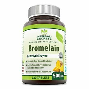 Herbal Secrets Bromelain 500 Mg 120 Tablets (Non-GMO)- Proteolytic Enzyme* An...