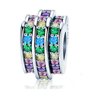 DIY Tree European CZ Crystal Charm Silver Spacer Beads Fit Necklace Bracelet ——