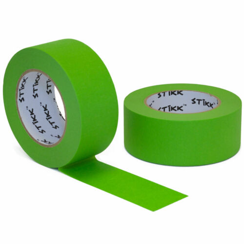 """2pk 2/"""" x 60yd STIKK Green Painters Tape 14 Day Easy Removal Release Trim Edge"""