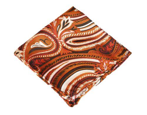 Lord R Colton Masterworks Pocket Square Lake Toya Copper Silk $75 New