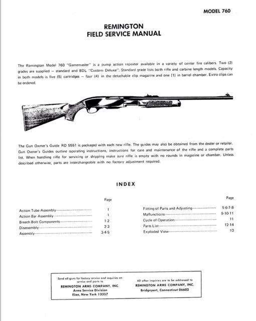 Remington Field Service Manual Model 760 Gunsmith