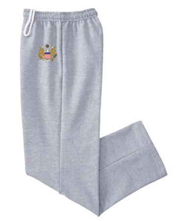 Open bottom sweatpants US United States Army design no cuff cuffless sweats