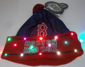 b4306bd9d47 Boston Red Sox NAME MLB LED Light Up Hat Winter Pom Beanie Stocking ...