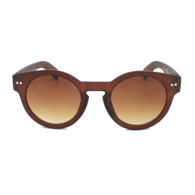 3081bf1be34728 Thick Round Steampunk Round Lens Brown Sunglasses Classic Vintage Retro Matt