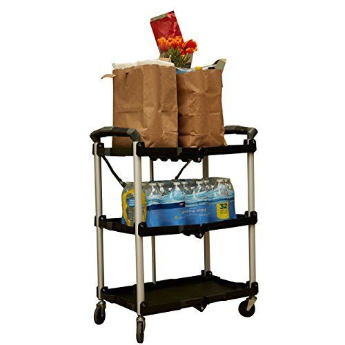 OLYMPIA 3 Shelf Collapsible 4 Wheeled Multi Purpose Utility Cart In Black Tool G
