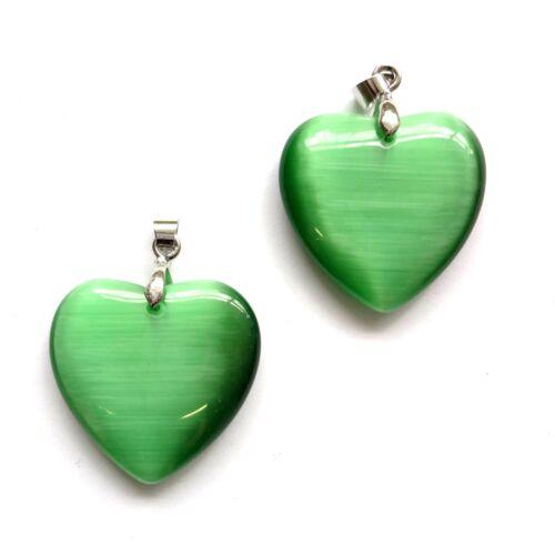 4 Green Cat/'s Eye Glass 25mm Flat Heart Pendants