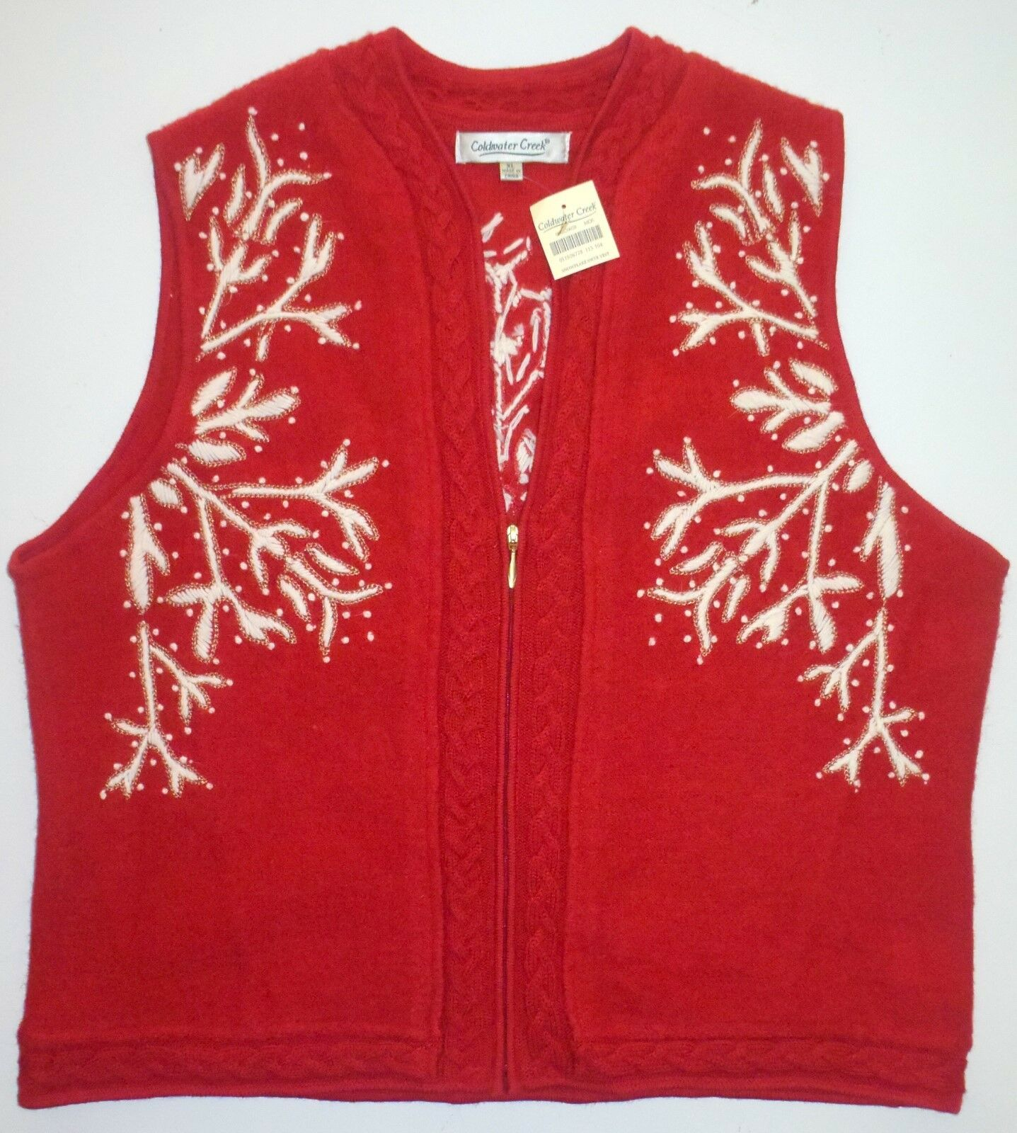 NWT New Womens XL Coldwater Creek Red Knit Wool Snowflake Sweater Vest Winter