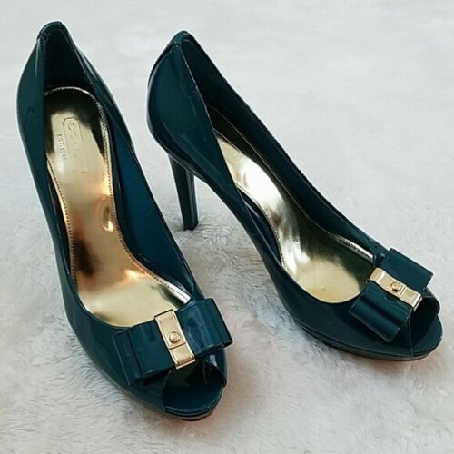 Coach Starla Sz 8.5 Teal Patent Leather Platforms