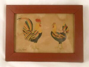 Folk Art Ink Water Color on Paper Fraktur Chicken & Rooster by Garnett B. French