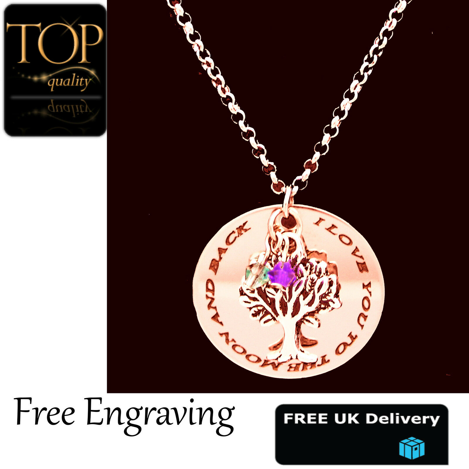 Family Tree of Life Pendant Personalised Engraved Name Necklace Silver Plated UK
