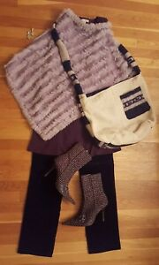 abito pantaloni orecchini 8 stivali look Completo poncho Ottieni il M outfit borsa FqwYgZcI