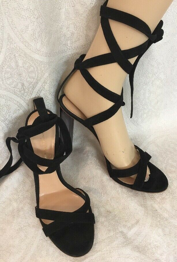Gianvito Rossi shoes Black Suede Wraparound Lace Up Clear Heel Size 40 New