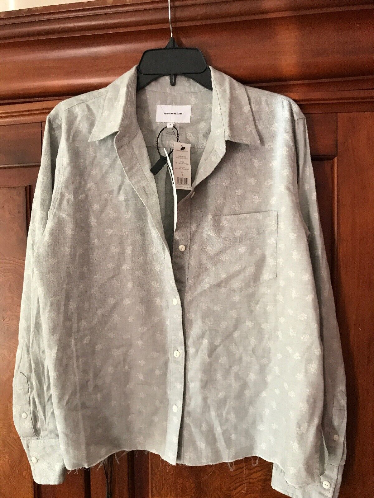 Current Elliot the  Boyfriend Shirt Top With Cut Hen In Falling Flowers 3 Large