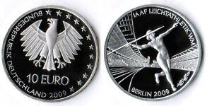 10-Euro-Leichtathletik-2009-Munzzeichen-G-Polierte-Platte-in-Munzkapsel