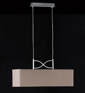 Pendelleuchte-Pendelleuchte-Esstischlampe-dimmbar-Stoffschirm-braun-Design-edel