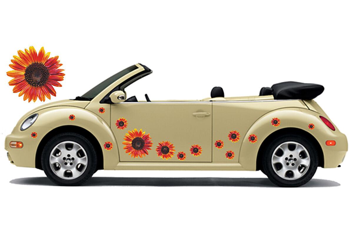 Auto Aufkleber Set Hibiskus Blaumenaufkleber Schmetterling Punkte - Flower Set 12