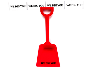 "50 ""We Dig You Stickers"" Fits Our Toy Shovels 3/4 Inch Tall x 2"" Long Made USA"