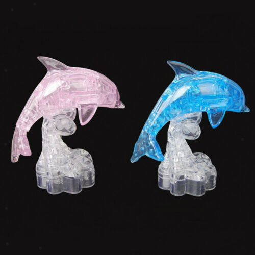 Kids 3D Jigsaw Puzzles Crystal Handicraft Pink Dolphin Model Building Kits