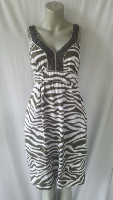 83c4dda345c Banana Republic Dress 6 Green White Sleeveless Sundress V Neck Organic Linen