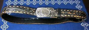 1960s-Western-Tooled-Distressed-Leather-Belt-1925-Silver-Dollar-Buckle-034-JOE-034-42-034