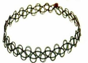 Tattoo-Choker-Gothic-Collier-1-schwarz-Retro-Halsband-dehnbar-elastisch-Kette