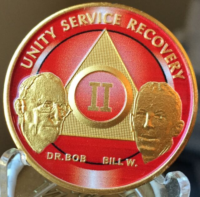 1 Year Founders AA Medallion Red Gold Plated Sobriety Chip Custom Colored Coin