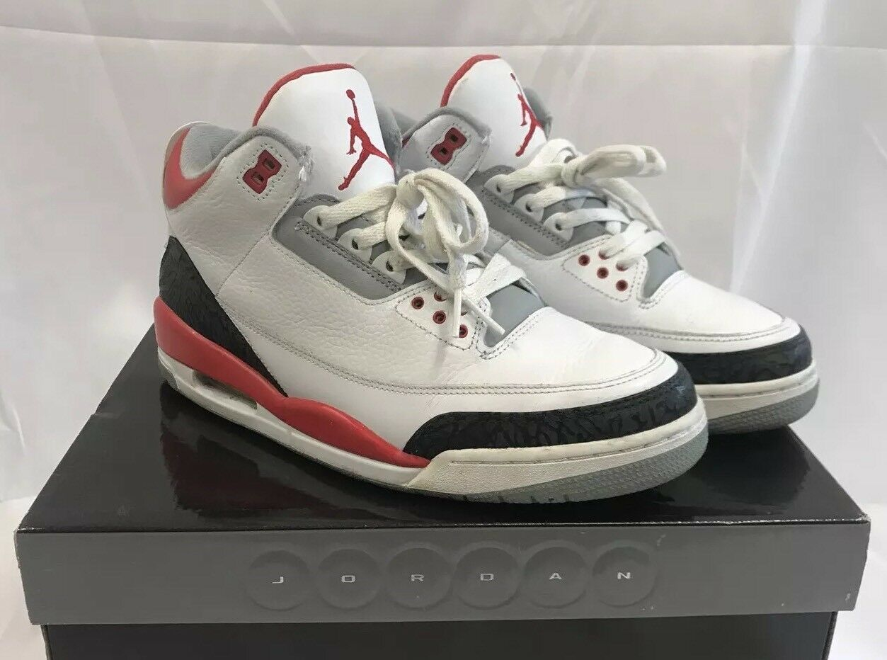 2006 Nike Air Jordan 3 III Retro Fire Red Cement Size 9.5 Tinker Bred Katrina