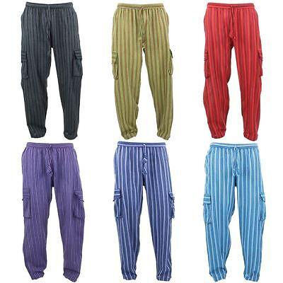 Bellissimo Pantaloni Di Cotone Nepalese Pantaloni A Righe Gringo Loose Luce Hippy Elastico Cargo-mostra Il Titolo Originale Fissare I Prezzi In Base Alla Qualità Dei Prodotti