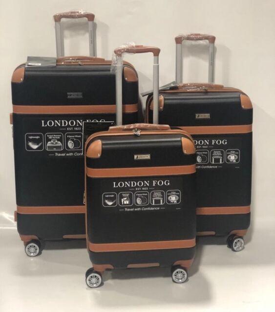 London Fog Vintage Hardside Spinner Lightweight Luggage Set Black Expandable For Sale Online Ebay