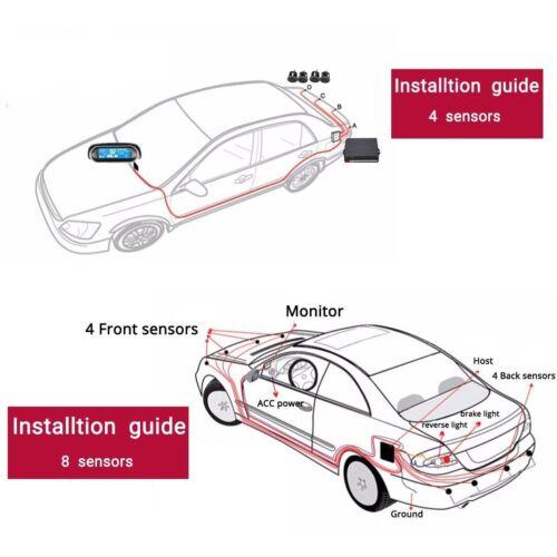 8 Parking Sensors LCD Car Auto Backup Reverse Rear Radar System Alert Alarm Kit
