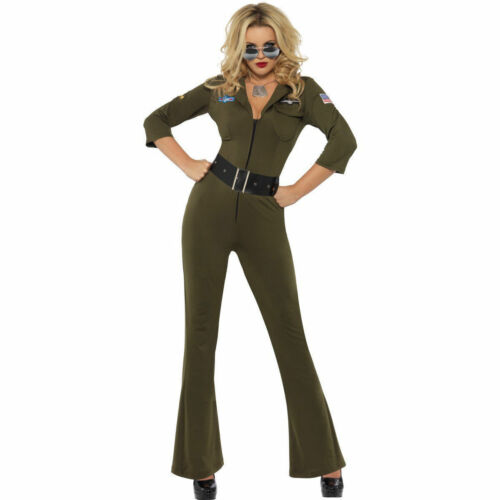 Womens Top Gun Aviator Pilot Fancy Dress Ladies Military Jumpsuit 80s Costume