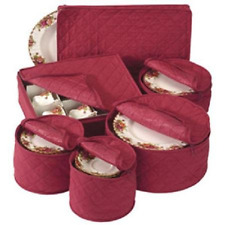 Charming China Storage Set Of 6 Quilted Cases Dinnerware Crimson Keepers Fine  Containers