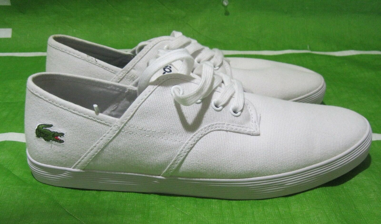 LaCoste Shoes Andover Low Canvas White Sneakers Size 7.5