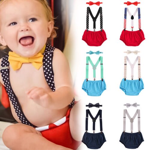Cake Smash Outfit Baby Boy 1st Birthday Suspender Diaper Nappy Cover Bow Tie Set