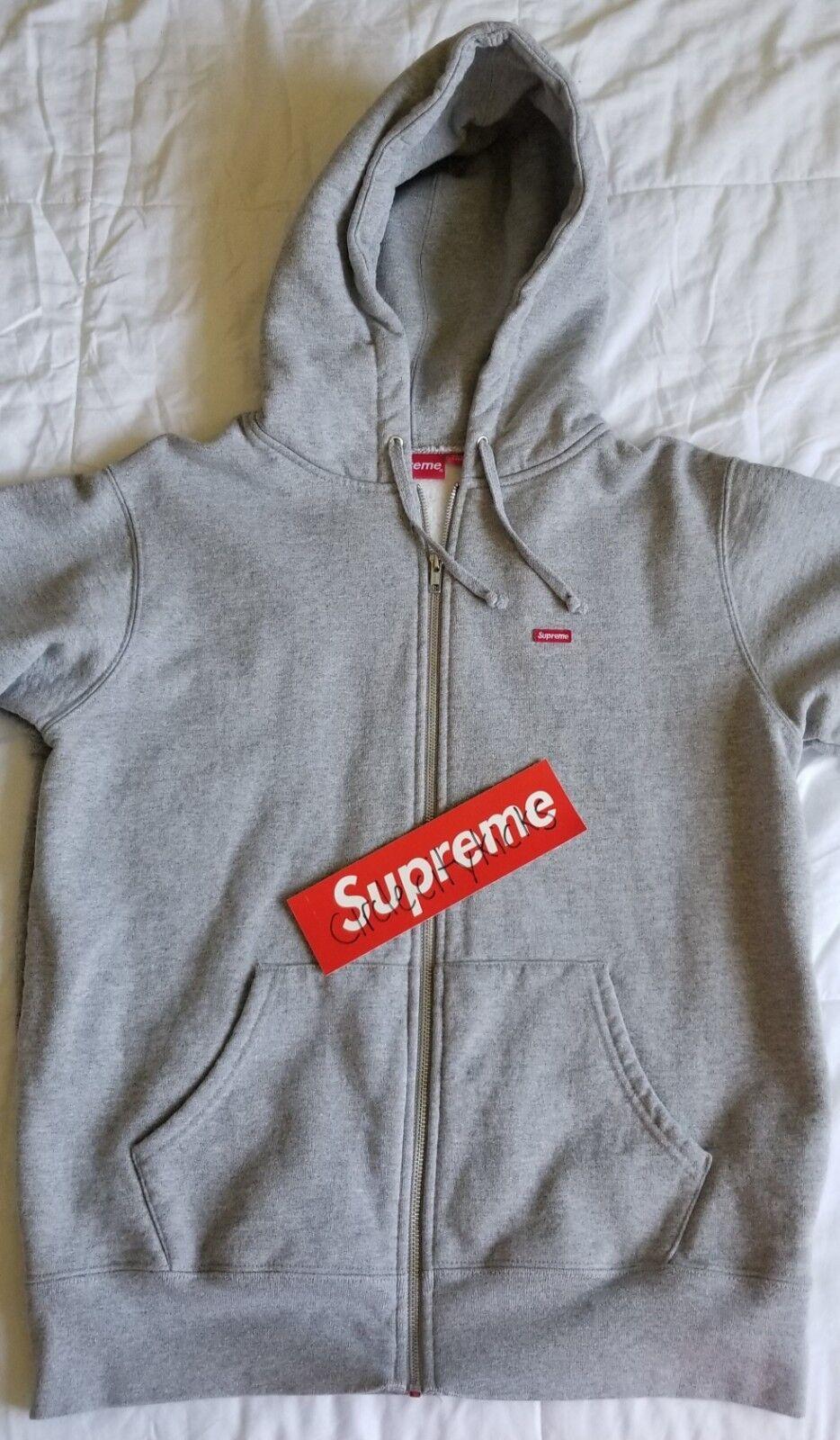 Supreme Small Box Logo Zip Up Hooded Sweatshirt - Größe M Medium - grau - FW17