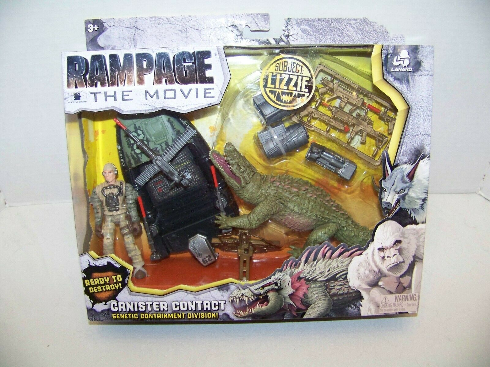 RAMPAGE THE MOVIE CANISTER CONTACT SUBJECT LIZZIE. LANARD TOYS. NEW.