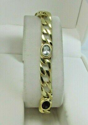 Gift Jewelry Yellow Citrine Quartz Sterling Silver Overlay 30 Grams Bracelet 7-9