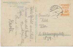 """Austria local stamp """"morzg"""" (Salzburg) VERY RARE. K2 A. Pra. - AK, 1928"""